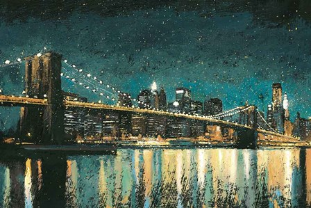 Bright City Lights Teal by James Wiens art print