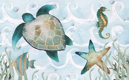 Watercolor Sea Creatures Panel (blue) by Elizabeth Medley art print