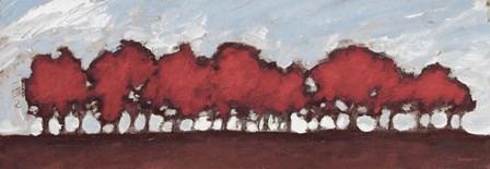 Tree Row Sunset In Red by Dan Meneely art print
