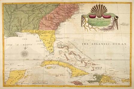 Map of Carolina, Florida & the Bahama Islands by Marc Catesby art print
