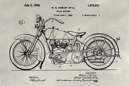 Patent--Motorcycle by Alicia Ludwig art print