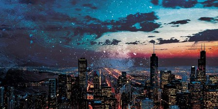 Chicago Skyline Hues by Milli Villa art print