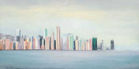 New York Skyline Blue Crop by Julia Purinton art print