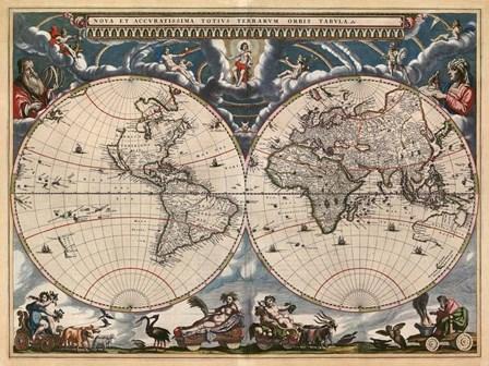 Nova et Accuratissima Totius Terrarum Orbis Tabula by Joan Blaeu art print