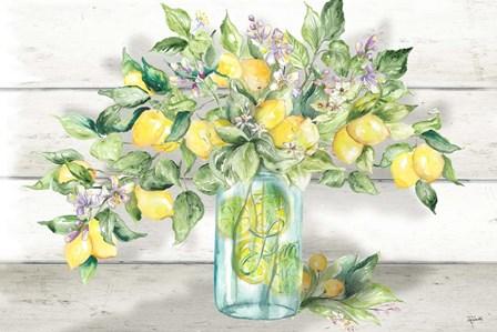 Watercolor Lemons in Mason Jar Landscape by Tre Sorelle Studios art print