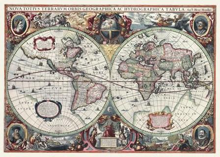 Nova Totius Terrarum Orbis Tabula by Hendrik Hondius art print