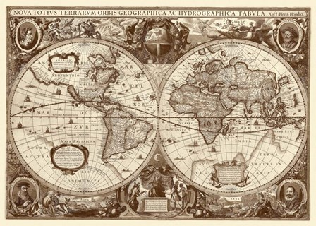 Nova Totius Terrarum Orbis Tabula (sepia) by Hendrik Hondius art print