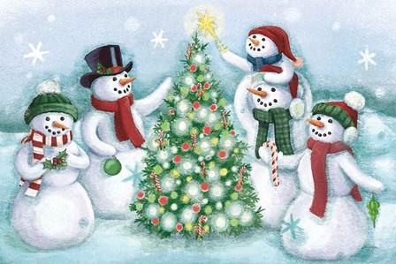 Classic Snowmen IV Dark by Mary Urban art print