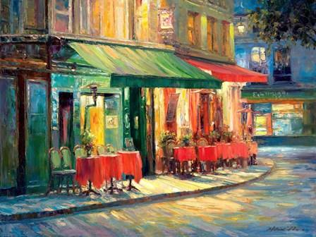 Red & Green Cafe by Haixia Liu art print