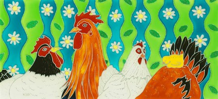 Chickens by Kims Painted Glass art print
