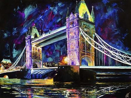 London Tower Bridge at Night by Natasha Mylius art print