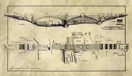 George Washington Bridge Blueprint Industrial Farmhouse by Tina Lavoie art print