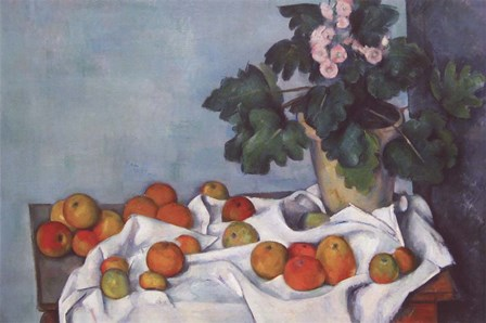 Still Life with Apples and a Pot of Primroses by Paul Cezanne art print