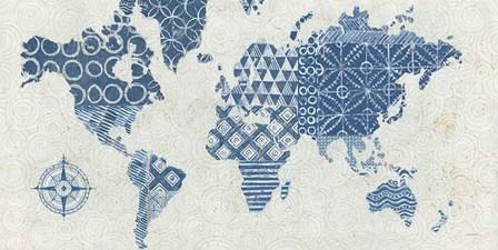 Indigo Gild Map Maki - No Border by Kathrine Lovell art print