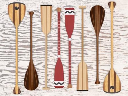 Canoe, Paddles & Oar by Edward M. Fielding art print