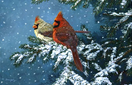 Sharing The Season - Cardinals by Terry Doughty art print