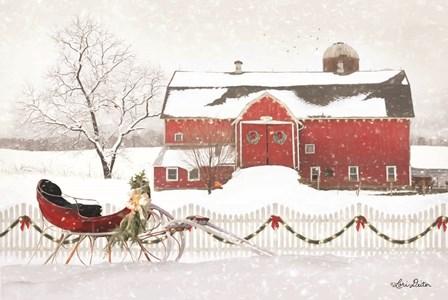 Christmas Barn with Sleigh by Lori Deiter art print