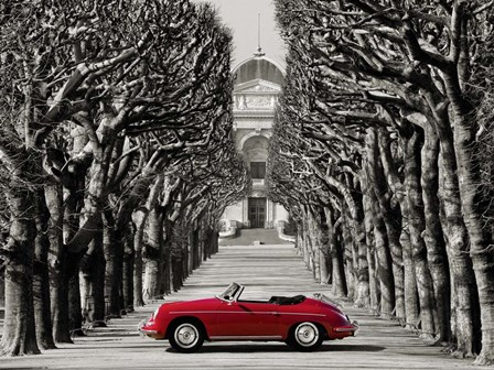 Roadster in Tree Lined Road, Paris by Gasoline Images art print