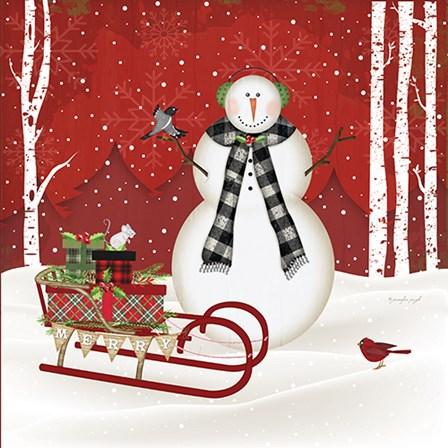 Merry Snowman by Jennifer Pugh art print