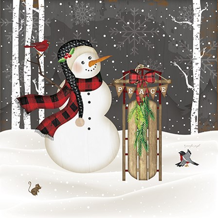 Peace Snowman by Jennifer Pugh art print