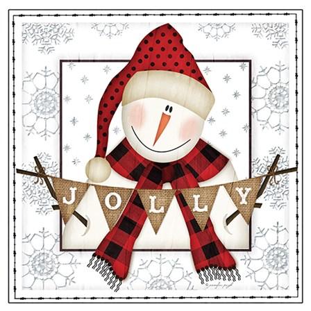 Jolly Snowman by Jennifer Pugh art print
