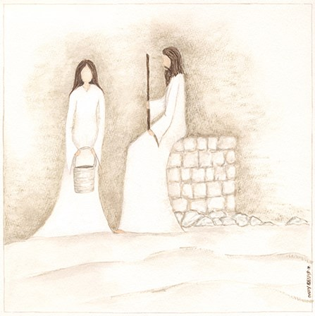 Jesus Talks with Woman at Well by Cindy Shamp art print