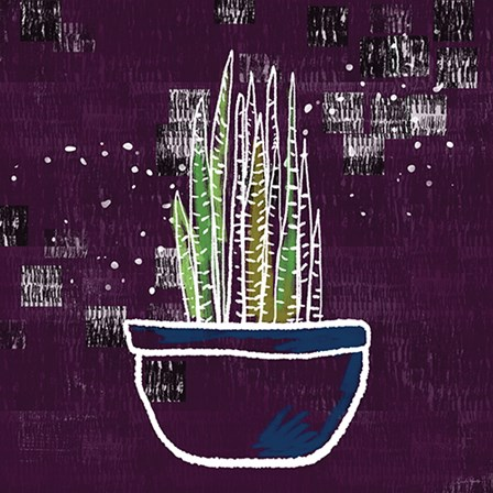 Purple Snake Plant by Linda Woods art print