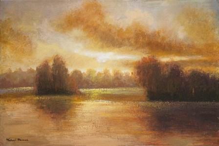 Golden Lake Glow I by Michael Marcon art print