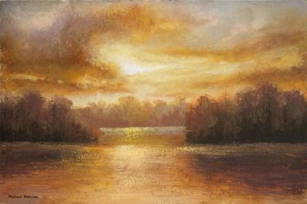 Golden Lake Glow II by Michael Marcon art print