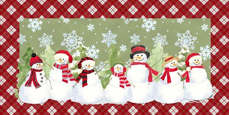 Snowman Wonderland - Green Plaid by Tara Reed art print