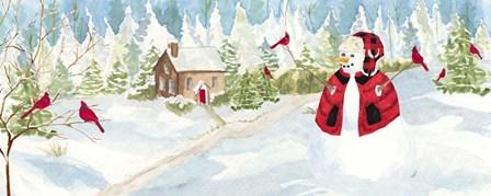 Snowman Christmas panel I by Tara Reed art print