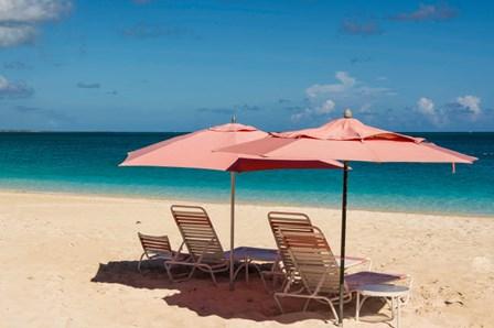 Beach Umbrellas On Grace Bay Beach, Turks And Caicos Islands, Caribbean by Michael DeFreitas / Danita Delimont art print