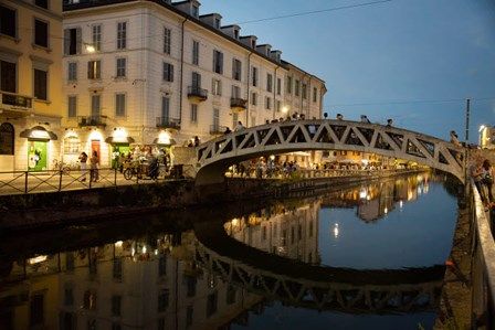 Italy, Lombardy, Milan Historic Naviglio Grande Canal Area Known For Vibrant Nightlife by Alan Klehr / Danita Delimont art print
