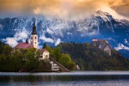 Europe, Slovenia, Lake Bled Church Castle On Lake Island And Mountain Landscape by Jaynes Gallery / Danita Delimont art print