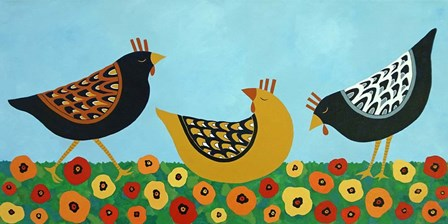 Hens and Poppies by Casey Craig art print