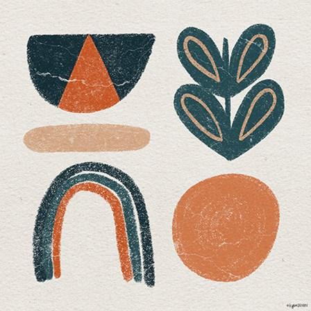 Retro Orange Teal by Kyra Brown art print