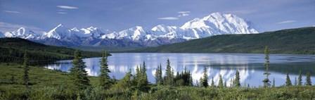Snow Covered Mountain Range At The Lakeside, Mt Mckinley, Wonder Lake, Alaska by Panoramic Images art print