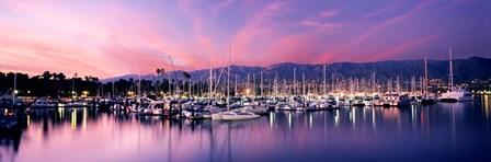 Boats Moored In Harbor At Sunset, Santa Barbara Harbor, California by Panoramic Images art print