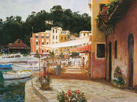 Morning Stroll - Portofino by George Bates art print