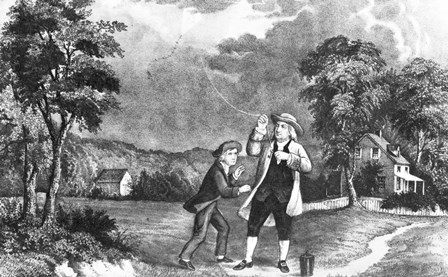 June 1752 Benjamin Franklin Out Flying His Kite In Thunderstorm As An Experiment In Electricity And Lightning by Vintage Images art print