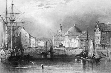 Skyline Boston Massachusetts From Waterfront Showing Fanueil Hall Engraving By T. A. Prior From Bartlett by Vintage Images art print