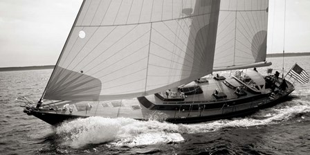 Sailboat Leaning to the Side (detail, BW) by Neil Rabinowitz art print