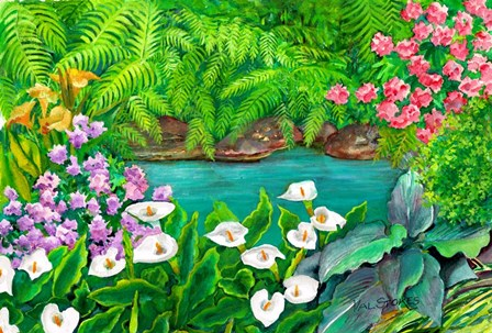 Arums and Stream by Val Stokes art print