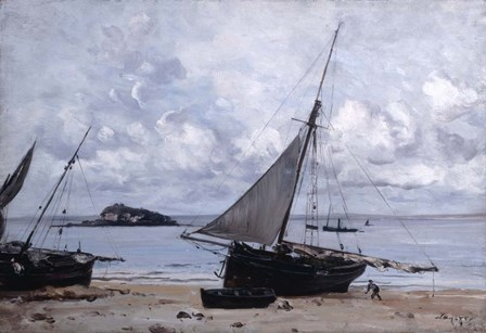 Beached Boats at St Jean, 1884 by Emmanuel Lansyer art print