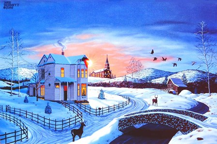 Christmas in the Country #2 - Blue Tint by Mike Bennett art print