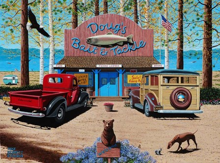 Dougs Bait and Tackle Shop by Mike Bennett art print