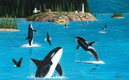 Eagles & Orcas by Mike Bennett art print
