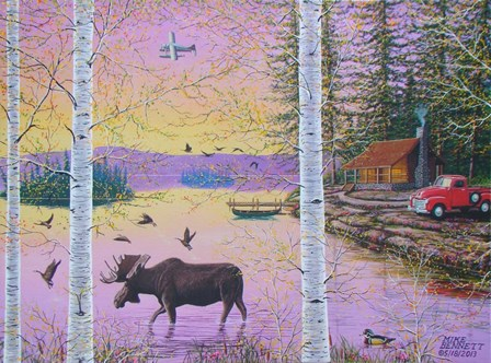 Moose Lodge with Float Plane by Mike Bennett art print