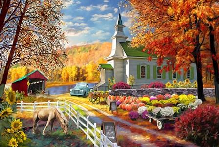 Vermont Church Fall Fair by Marie August-Anderson art print
