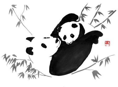 Panda Family by Pechane art print